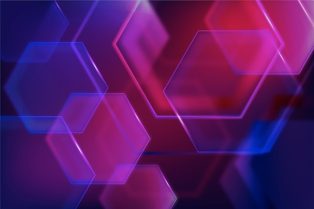 Geometric shapes with neon lights theme