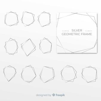 幾何学的なシルバーフレームパック