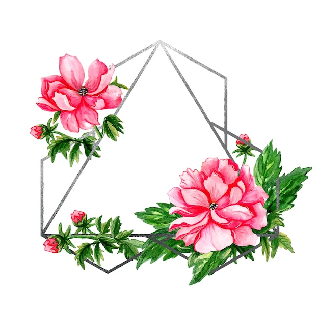 Geometric silver vintage frame with red buds and green leaves  .