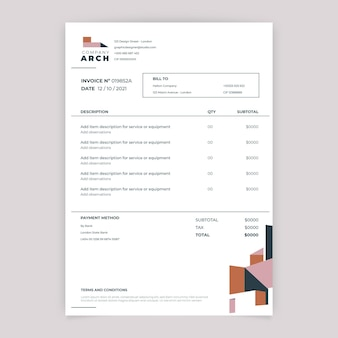 Geometric simple construction invoice