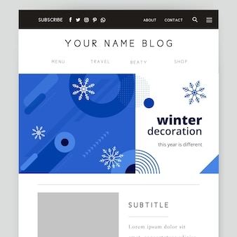 幾何学的な単色の冬のブログヘッダーテンプレート