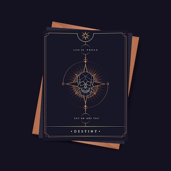Geometric skull astrological tarot card