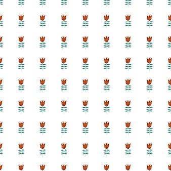 白い背景で隔離の幾何学的な小さな花の民芸シームレスパターン。