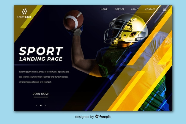 Geometric sport landing page with dark photo