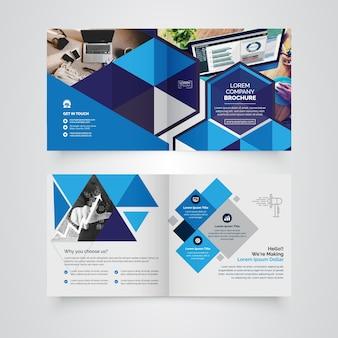 Geometric square bi-fold brochure