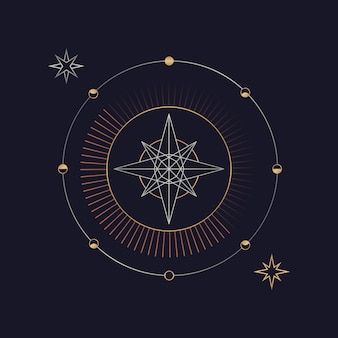 Geometric star astrological tarot card