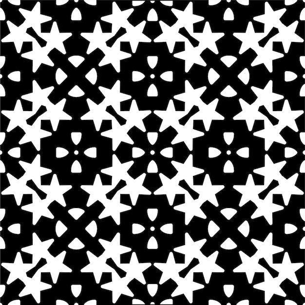 幾何学的な星のモノクロのシームレスパターン
