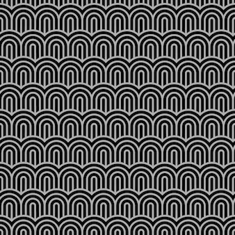 Geometric striped seamless pattern with stylized waves