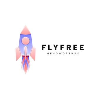 Geometric style colorful rocket illustration