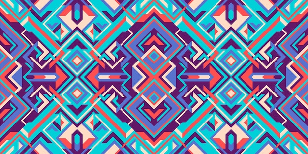 幾何学的なスタイルのカラフルなシームレスパターン