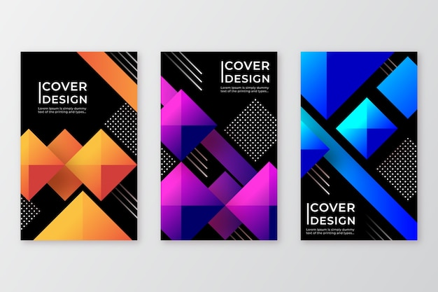 Geometric style gradient shapes covers
