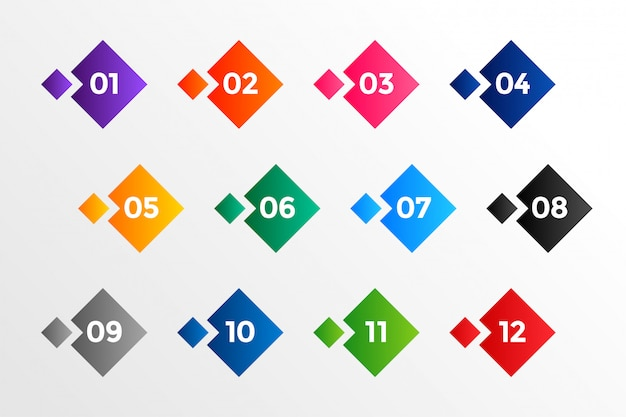 Geometric style number bullet points in many colors