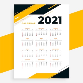 Geometric style professional 2021 calendar yellow design template