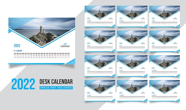 幾何学的なスタイルのプロフェッショナル2022年カレンダー黄色のデザインテンプレート