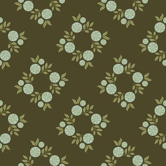 Geometric style seamless pattern with blue lemon slices ornament. dark green-olive background. stock illustration. vector design for textile, fabric, giftwrap, wallpapers.