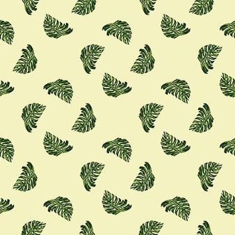 幾何学的なスタイルのシームレスなパターンと落書きグリーンモンステラの葉のプリント。明るい背景。季節のテキスタイルプリント、ファブリック、バナー、背景、壁紙のベクトルイラスト。