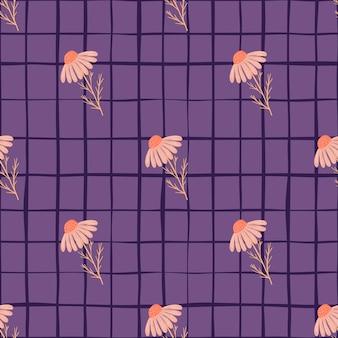 ピンクのデイジーの花の要素が印刷された幾何学的なスタイルのシームレスなパターン