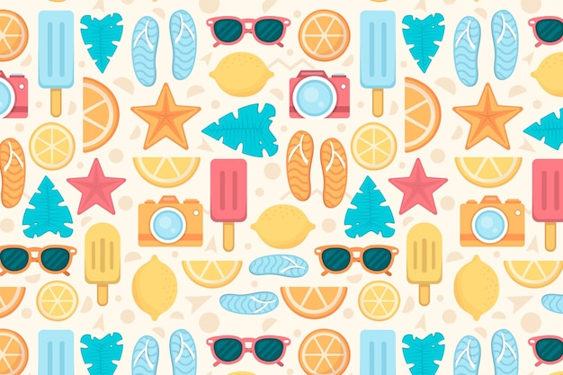 Geometric summer pattern elements zoom background