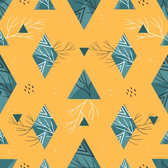 Geometric summer pattern with triangles and rhombuses. on a yellow background.