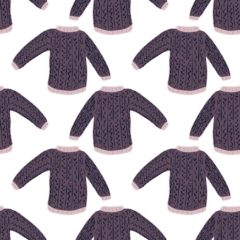 Geometric sweater doodle seamless winter outfit pattern. white background.