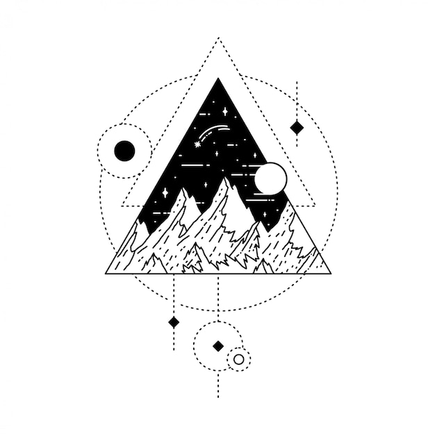 Geometric tattoo with mountain and moon