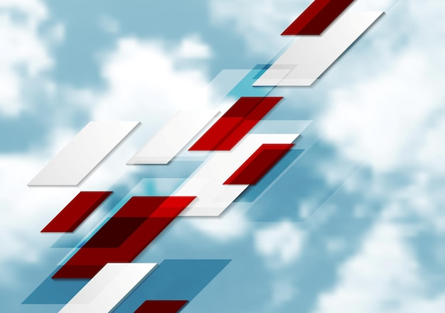 Geometric tech abstract background on blue sky. vector design