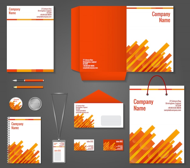 Geometric technology business stationery template