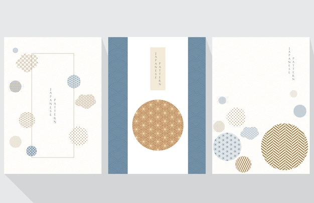Geometric template with japanese pattern  . abstract background and cover design in asian style.