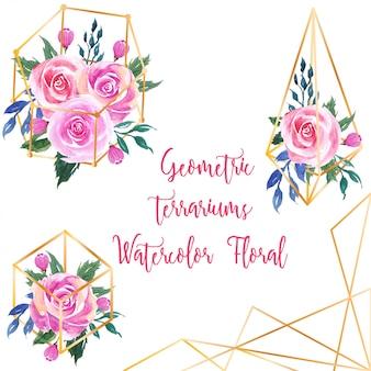 Геометрический террариум симпатичный розовый акварельный цветочный