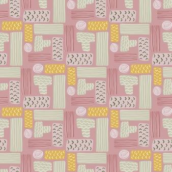 長方形の幾何学的なテトリスシームレスパターン。グレー、イエロー、ピンクのパレットの幾何学的なアートワーク。