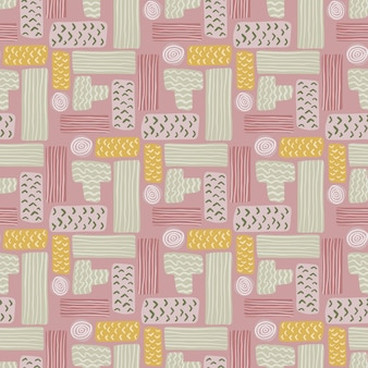 Geometric tetris seamless pattern with rectangles. grey, yellow and pink palette geometric artwork.