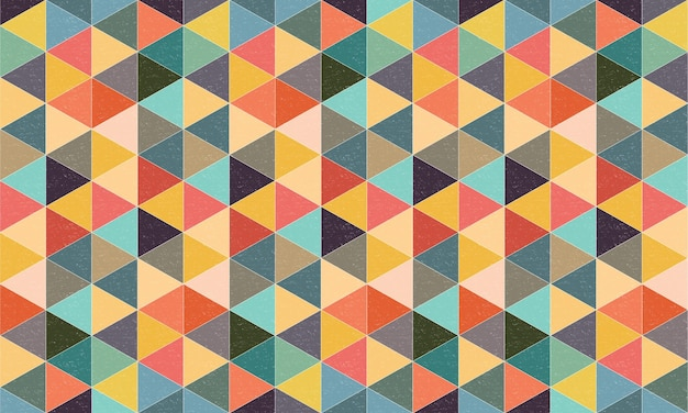Geometric textured triangles background with colourful retro style