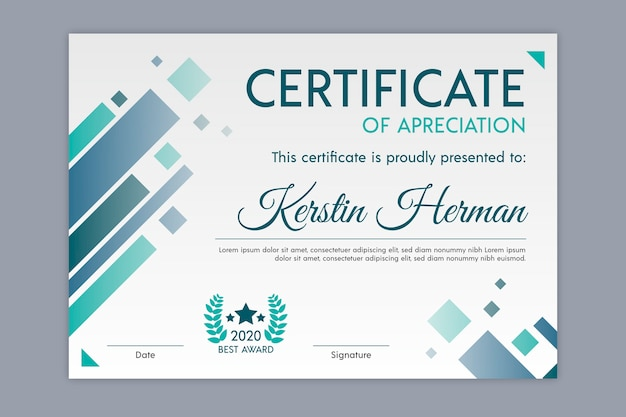 Geometric theme for certificate template