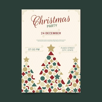 Geometric tree shapes christmas party poster