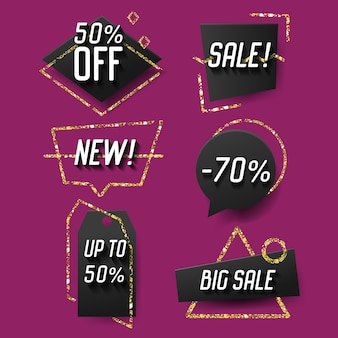 Geometric trendy sale banners, labels, tags template set. discount advertising design with golden glitter elements.