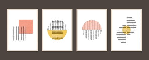 추상적 인 미적 미니멀리스트 손으로 그린 현대 포스터의 기하학적 유행 세트