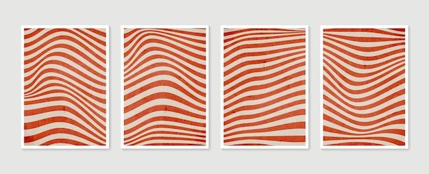幾何学的なトレンディな抽象的な美的ミニマリスト手描き現代ポスターのセット