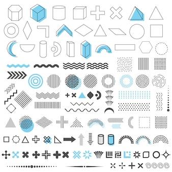 110要素、メンフィスデザイン、レトロな線形要素、テンプレートの幾何学的な流行の形のセット。ウェブ、雑誌、リーフレット、広告、商業バナー、販売のためのベクトル要素