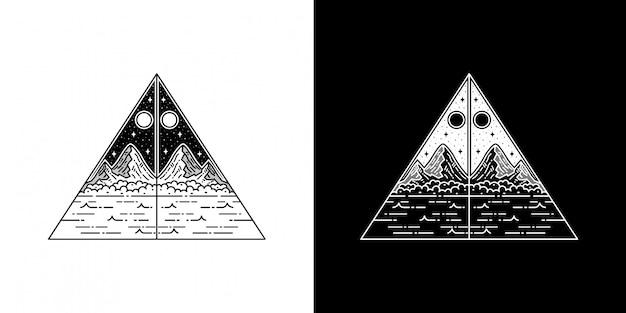 幾何学的三角形山モノラインタトゥーデザイン
