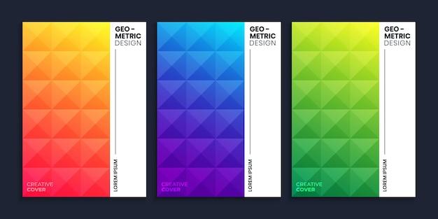 그라데이션 배경으로 기하학적 삼각형 패턴 표지 디자인