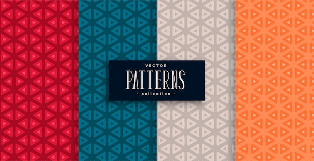 Geometric triangle patterns set and four colors