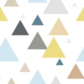 青黄茶灰色の幾何学的な三角形のシームレスな繰り返しパターン