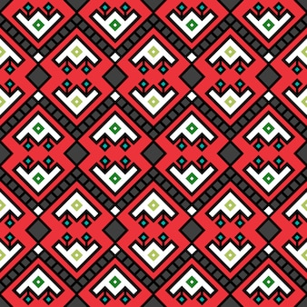 Geometric tribal decotarive pattern in red color, vector illustration
