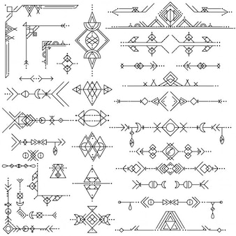 Geometric tribal ornaments
