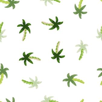 기하학적 열 대 야자수 완벽 한 패턴입니다. 귀여운 녹색 야자수 벽지. 어린이 직물 디자인, 직물 인쇄, 포장지, 덮개를 위한 장식적인 배경입니다. 벡터 일러스트 레이 션
