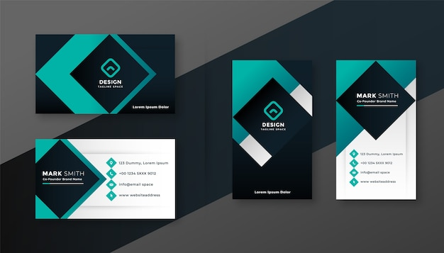 Geometric turquoise modern business card design