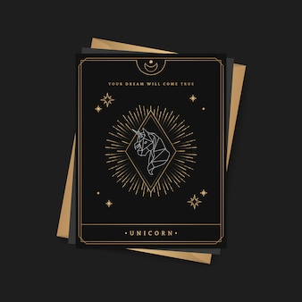 Geometric unicorn astrological tarot card