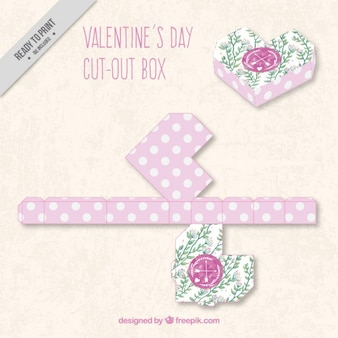 Geometric valentines day box in floral style