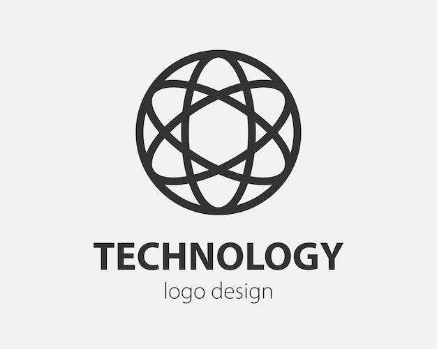 Geometric vector logo in a circle. high tech style logotype for nano technology