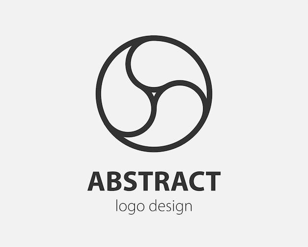 원에 기하학적 벡터 로고입니다. 단순한 선형 디자인의 나노 기술, 암호 화폐 및 모바일 응용 프로그램을 위한 하이테크 스타일 로고.
